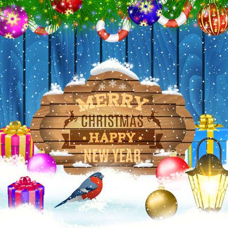 snowdrifts: Vector Christmas Greeting Card. Winter scene with fir tree branch, lantern, retro frame, text Merry Christmas, snowdrifts, blue wooden fence, Christmas ball and giftbox, bird bullfinch