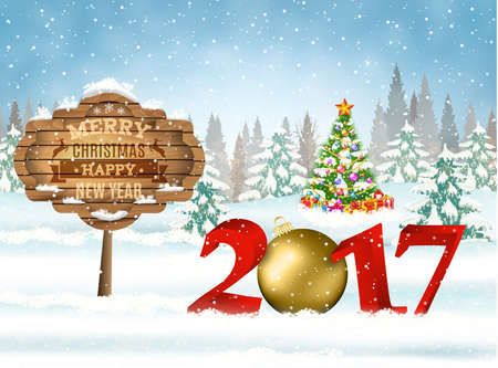 snow landscape: New year and Merry Christmas Winter background with christmas balls and wooden ornate. 2017 with ball on nature background with Christmas tree
