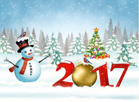 New year and Merry Christmas Winter background with christmas balls and snowman. 2017 with ball on nature background with Christmas tree