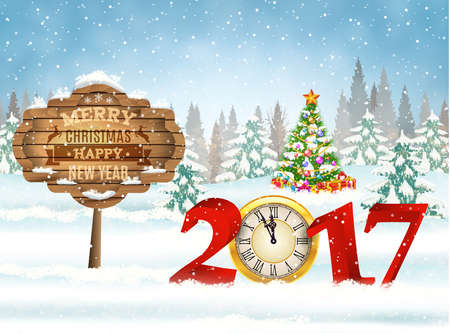 New year and Merry Christmas Winter background . 2017 with clock on nature background with Christmas tree Illustration