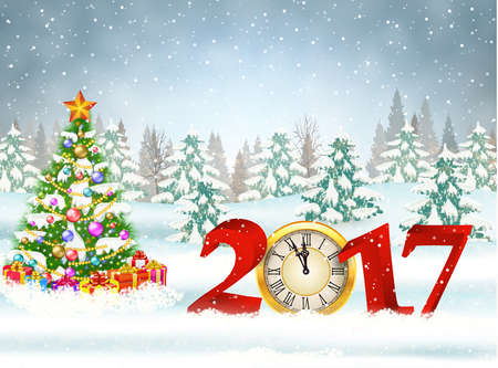 New year and Merry Christmas Winter background 2017 with clock on nature background with Christmas tree