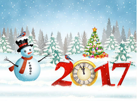 New year and Merry Christmas Winter background with snowman. 2017 with clock on nature background with Christmas tree Illustration