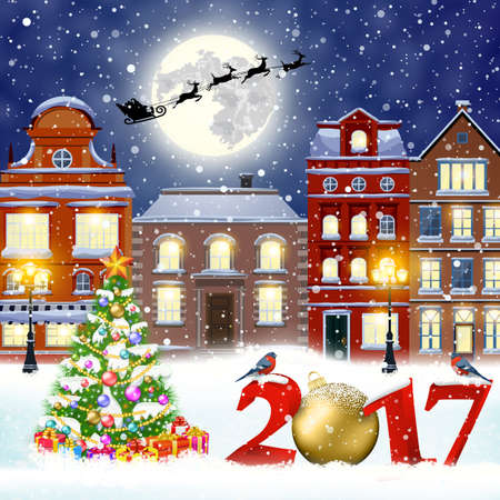 postal card: happy new year and merry Christmas winter old town street with christmas tree. Santa Claus with deers in sky above the city. concept for greeting, postal card, invitation, template, 2017