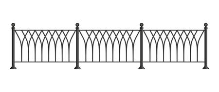 cast iron: Black forged lattice fence. vector illustration isolated on white background Illustration