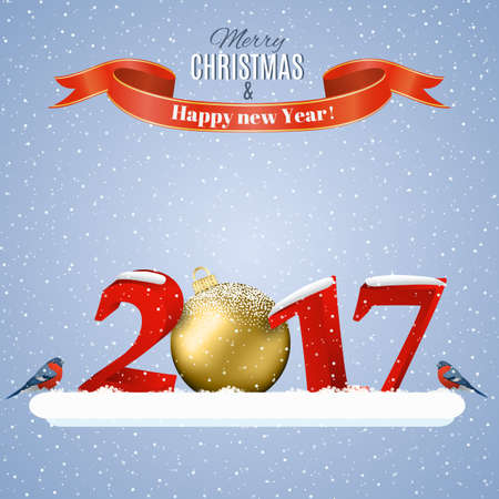postal card: happy new year and merry Christmas Winter template for greeting and postal card, invitation, 2017 with christmas ball