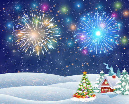A house in a snowy Christmas landscape at night. christmas tree. fireworks in the sky. concept for greeting or postal card, vector illustration Illustration