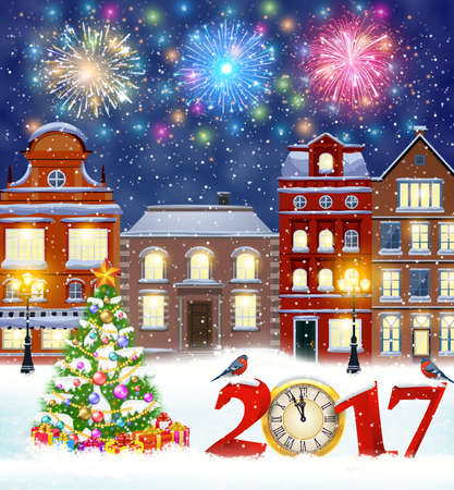 postal card: happy new year and merry Christmas winter old town street with christmas tree. fireworks in the sky. concept for greeting, postal card, invitation, template, 2017 clock