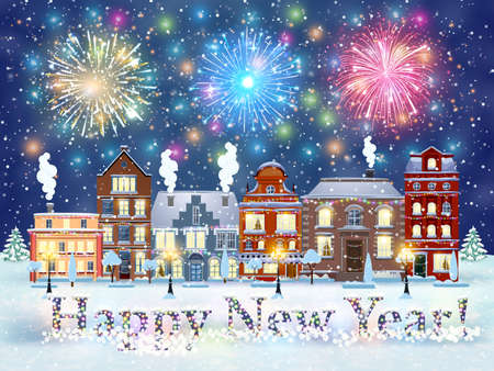 winter snow: happy new year and merry Christmas winter old town street with trees. Christmas card with cityscape and fireworks. concept for greeting and postal card, invitation, template, vector illustration