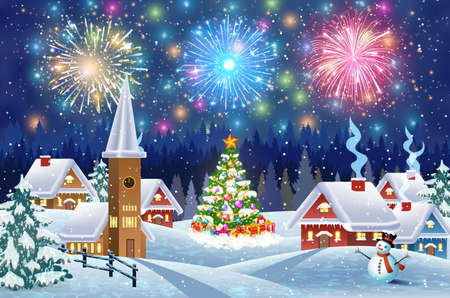A house in a snowy Christmas landscape at night. christmas tree and snowman. fireworks in the sky. concept for greeting or postal card