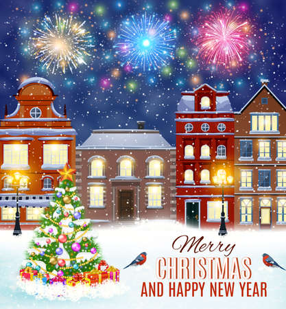 postal card: happy new year and merry Christmas winter old town street with christmas tree. fireworks in the sky. concept for greeting, postal card, invitation, template,
