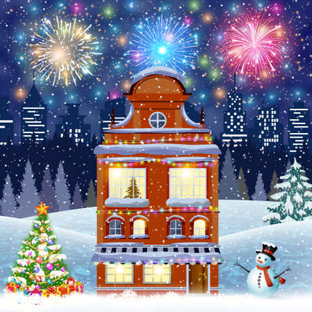 postal card: retro merry christmas night illustration city houses facades with christmas trees and snowman. fireworks in the sky. concept for greeting and postal card, invitation, template Illustration