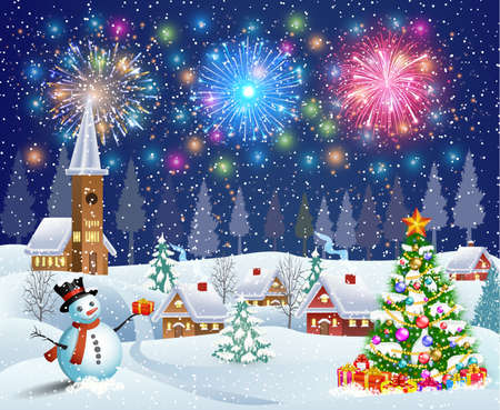 A house in a snowy Christmas landscape at night. christmas tree and snowman.fireworks in the sky. concept for greeting or postal card