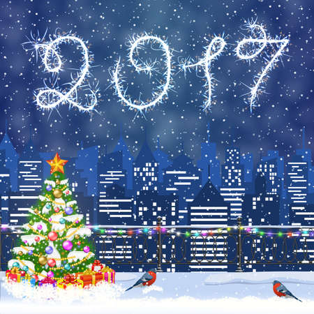 detailed image: happy new year and merry Christmas Winter Cityscape with christmas tree, snow flakes. Christmas card with cityscape and fireworks, 2017 with sparklers Illustration