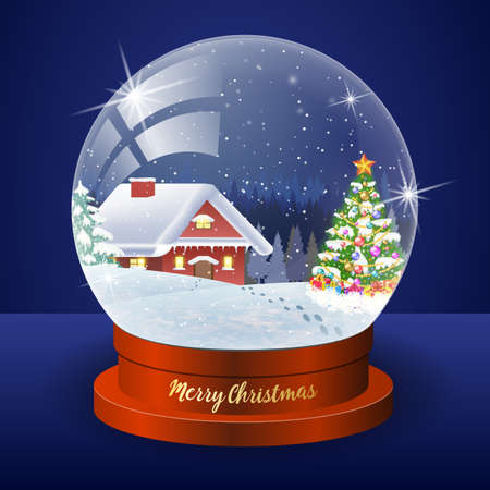 snow house: Christmas winter landscape globe with snow house forest and christmas tree inside vector illustration