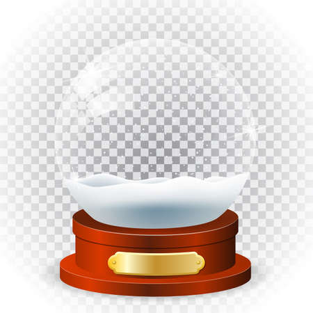 Realistic new year chrismas snow globe isolated on transparent background. vector illustration