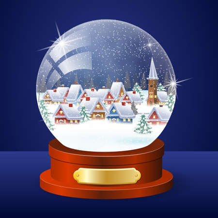 snow house: Christmas winter landscape globe with snow house forest inside vector illustration