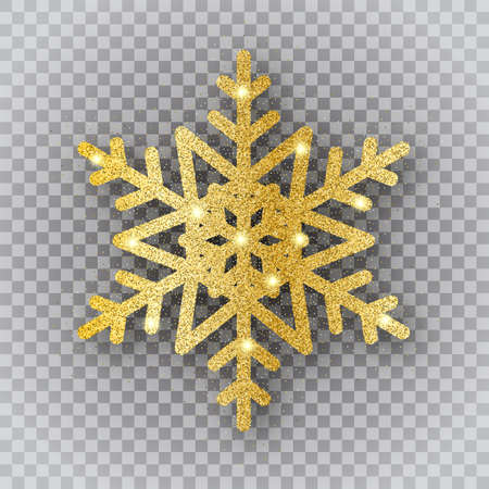 Shine golden snowflake with gold glitter texture and sparkle on transparent background. Christmas, New Year golden glittering ornament. Vector isolated icon