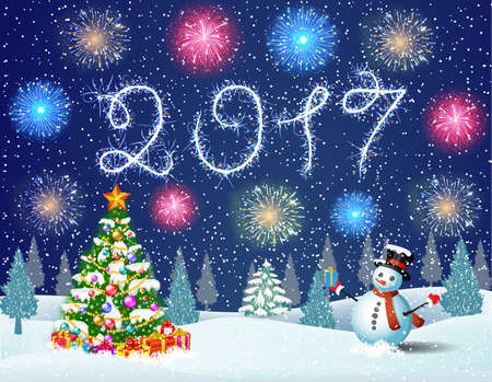 Christmas landscape at night. christmas tree and snowman. concept for greeting or postal card. fireworks in the sky. 2017 with sparklers
