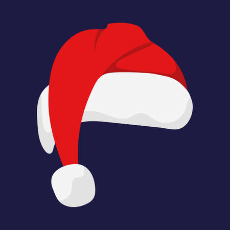 fiambres: Santa Claus red hat isolated. Santa Christmas hat decoration. vector illustration in flat style Vectores