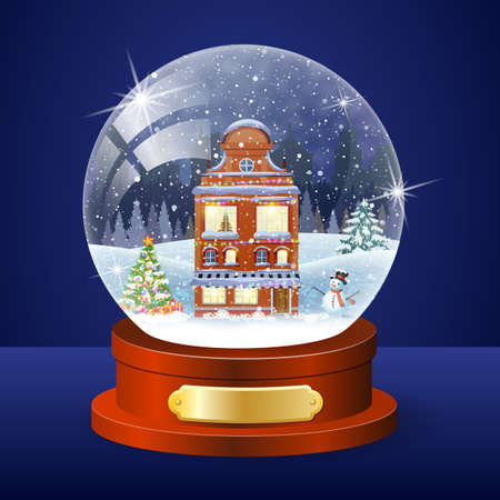 christmas winter city houses facades globe with christmas trees and snowman inside vector illustration