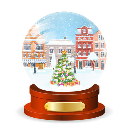 Christmas winter old town street globe with christmas tree inside vector illustration