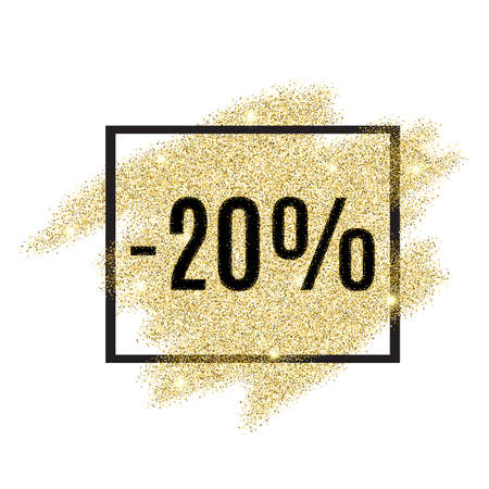 20 percent off discount promotion tag. Promo sale label. New Year, Christmas offer. Gold sale background for flyer, poster, shopping, card, web, header. Vector gold glittering illustration
