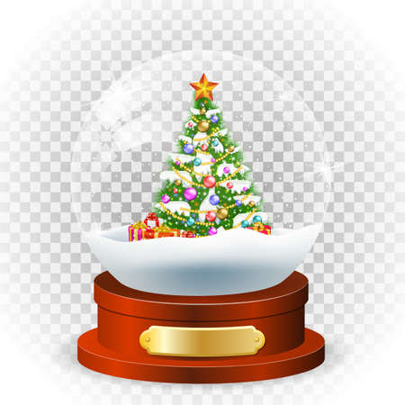 Realistic new year chrismas, with christmas tree, snow and gifbox, globe isolated on transparent background. vector illustration