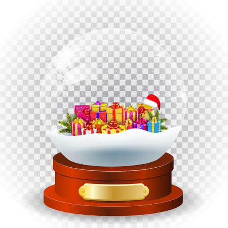 Realistic new year chrismas, with presents and giftbox and wooden ornate inside globe isolated on transparent background. vector illustration Illustration