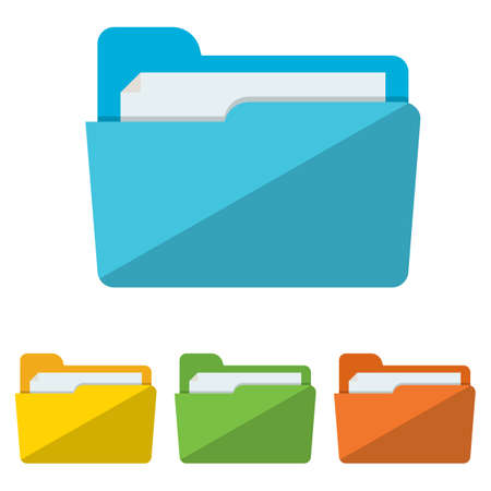colorful Collection of file folders for documents icons. Modern flat design vector illustration concept for web banners, web and mobile app, web sites, printed materials, infographics