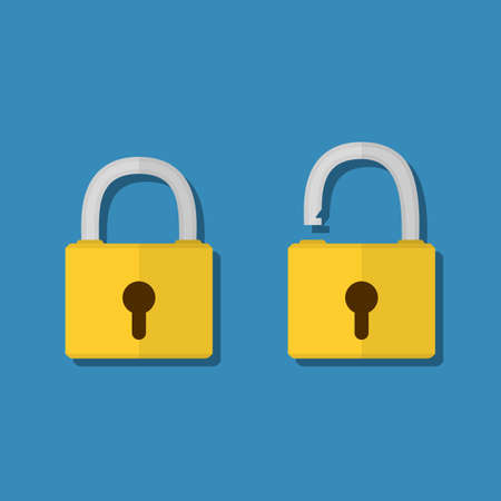 lockout: Opened and closed lock icons isolated on blue background, yellow padlocks shapes flat illustration concept for web banners, web and mobile app, web sites, printed materials, infographics Illustration