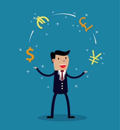 Businessman juggle with different currency. Financial success. vector illustration in flat style Illustration