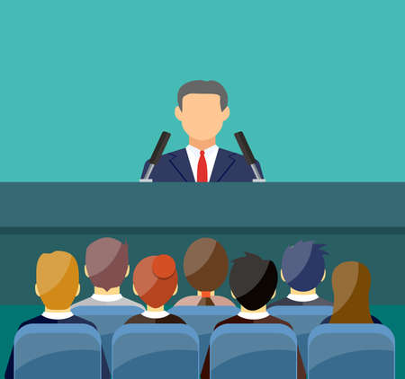 orator speaking from tribune. public speaker and crowd on chairs. vector illustration in flat style Illustration