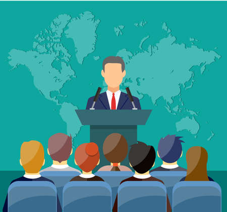orator speaking from tribune. public speaker and crowd on chairs. vector illustration in flat style Ilustração