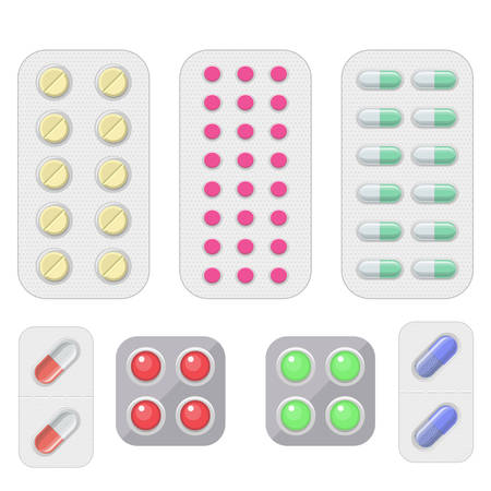 Set of vector pills and capsules.