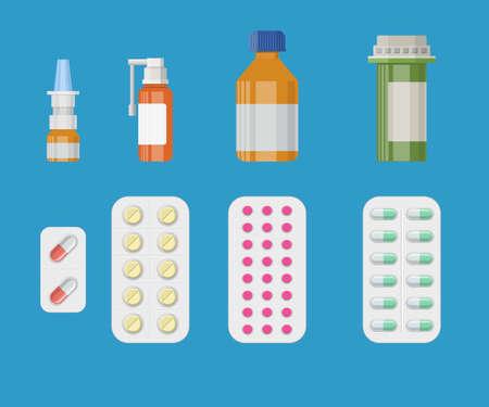 medicine bottles: Set of medicine bottles with labels and pills.