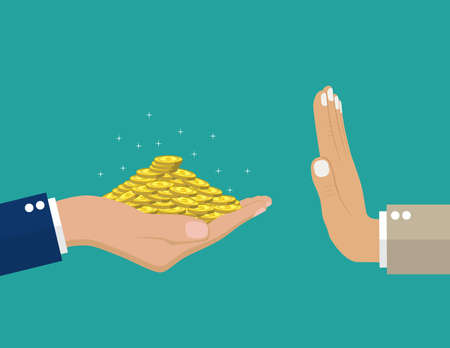 hand giving money to other .