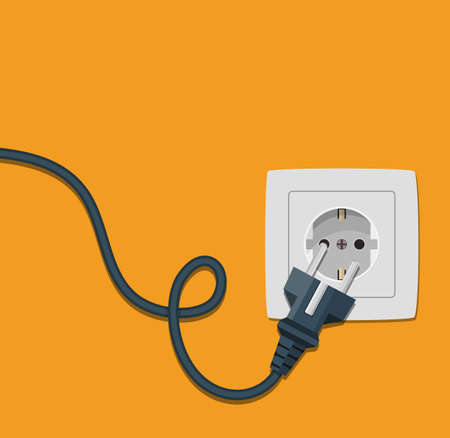 Electricity icon flat with plug and socket Illustration