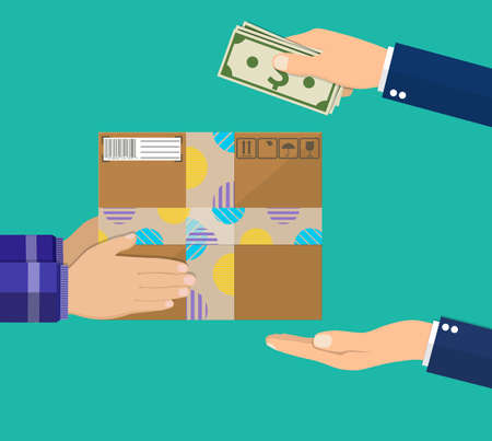 Human hand holds money and pay for the package Stock Illustratie
