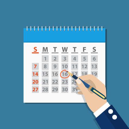 hand pen: businessman hand mark on the calendar by pen.