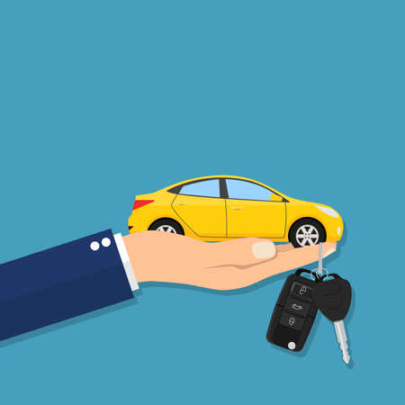 lease: Car seller hand giving key to buyer Illustration