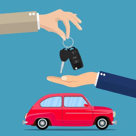 Dealer giving keys chain to a buyer hand Illustration