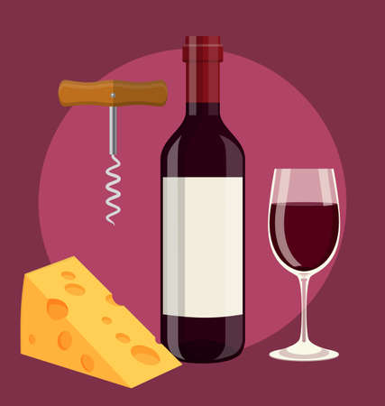 bottle, glass of wine cheese and Corkscrew Vector Illustration