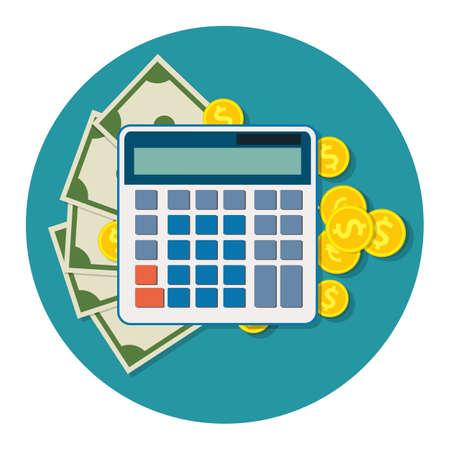 Money Dollar Bills and Coins, calculator Icon.