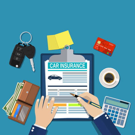 insured: Car insurance form concept Stock Photo