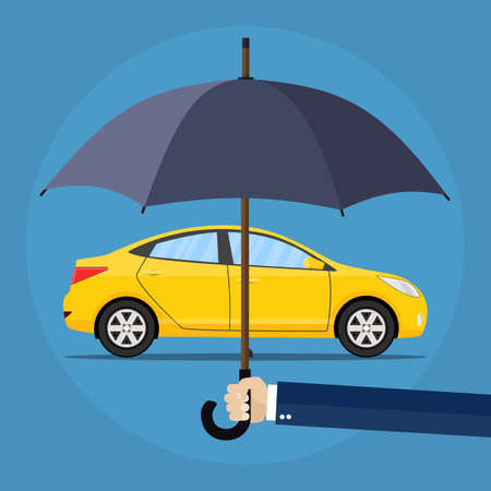 incident: Hand with umbrella that protects car