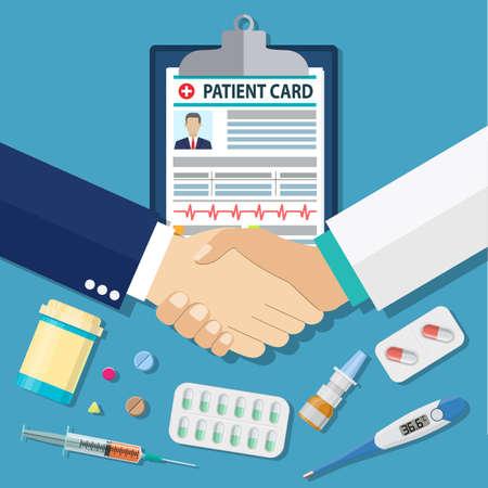 explaining: handshake between doctor and patient,