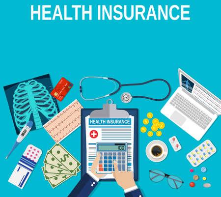 남자 손 들고 계산기입니다. 건강 관리 보험 개념입니다. 벡터 그림 평면 디자인입니다. 의료 장비, 돈, 청진기, 마약, 돈, 계산기, 온도계, 엑스레이 스톡 콘텐츠 - 70279288
