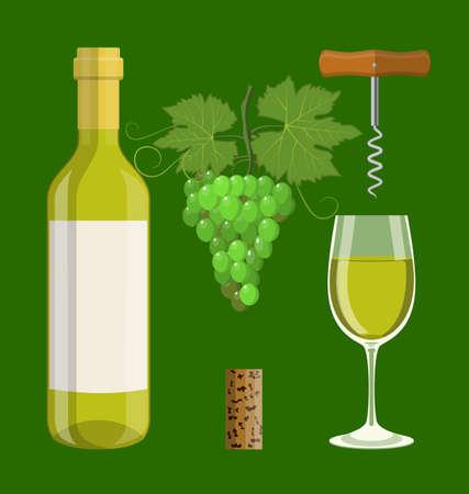 Bottle, glass, cork, corkscrew Illustration