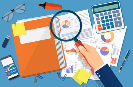 auditing: Hand with magnifying glass, analysis of financial report. Financial audit concept. Auditing tax process. vector illustration in flat design. Illustration