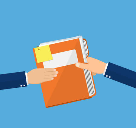 give: Hands Give Folder Document Papers, Concept Businessmen Share Information. vector illustration in flat style
